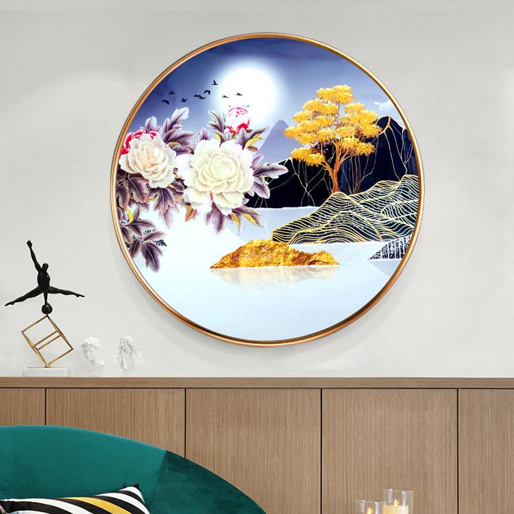 圆形立体晶瓷浮雕画沙发背景墙