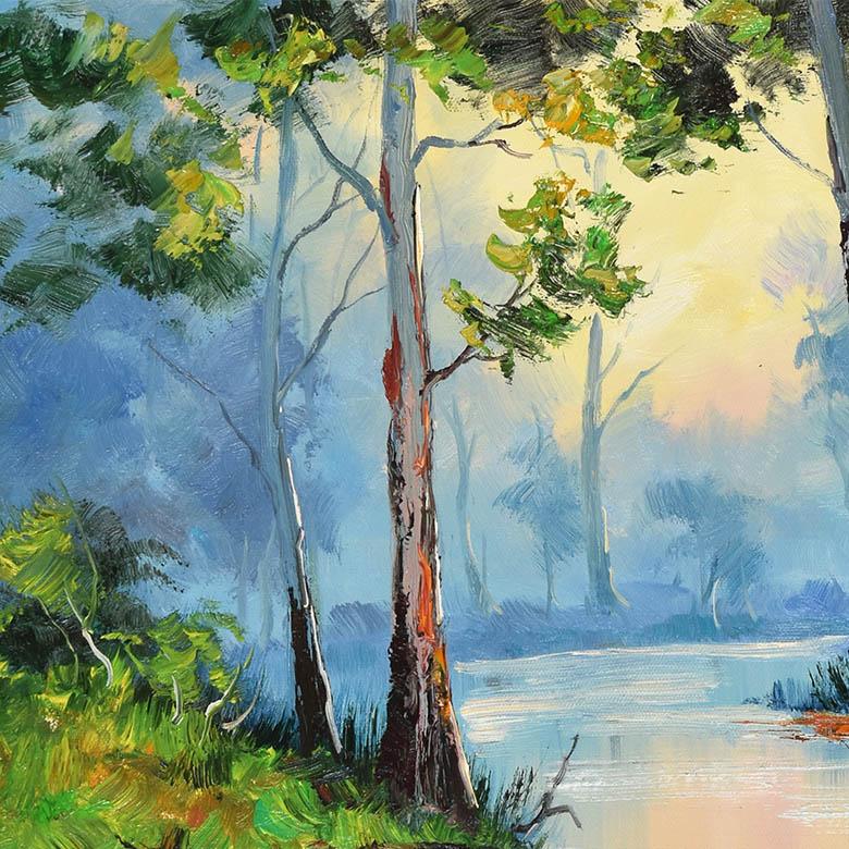 林中手绘风景油画职业画家阿良