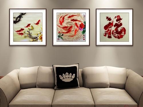 客厅装饰画 刺绣年年有余三联屏