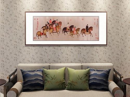客厅装饰画 刺绣虢国夫人游春图