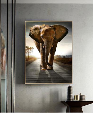 现代轻奢风格大象单幅玄关装饰画